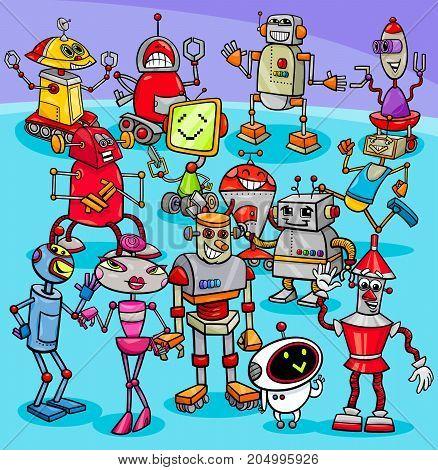 Cartoon Robot Characters Group