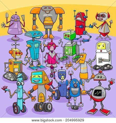 Cartoon Robot Characters Big Group