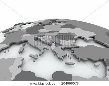 Flag Of Kosovo On Globe