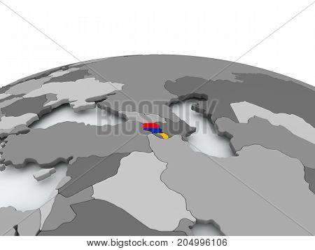 Flag Of Armenia On Globe