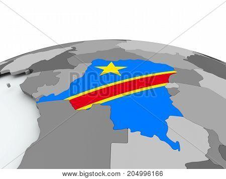 Flag Of Democratic Republic Of Congo On Globe