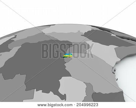 Flag Of Rwanda On Globe