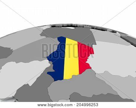 Flag Of Chad On Globe