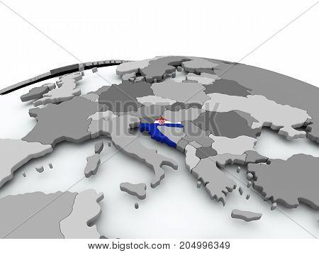 Flag Of Croatia On Globe
