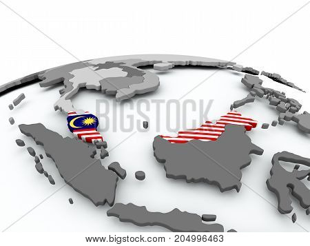 Flag Of Malaysia On Globe
