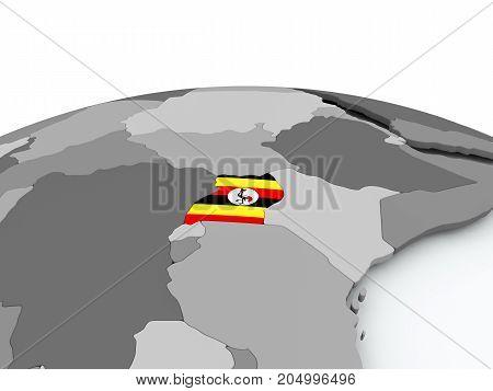 Flag Of Uganda On Globe