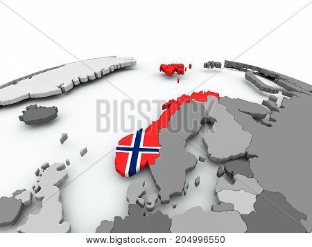 Flag Of Norway On Globe