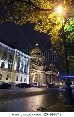 Russia.night street in the downtown and St. Isaac's (Isaakievsky) Cathedral in St. Petersburg