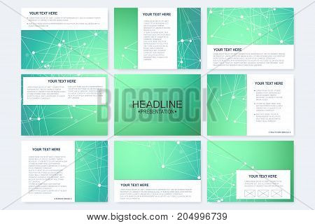Big set of vector templates for presentation slides. Modern graphic background structure molecule and communication. Scientific pattern atom DNA. Medical, science, chemistry design