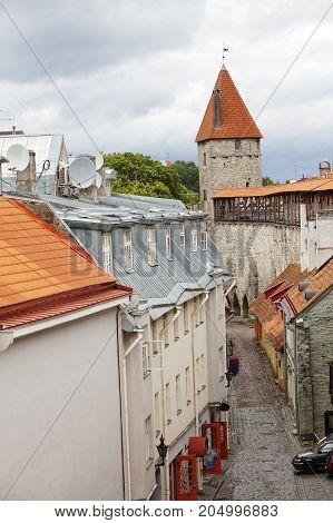 Medieval towers - part of the city wall. Tallinn Estonia