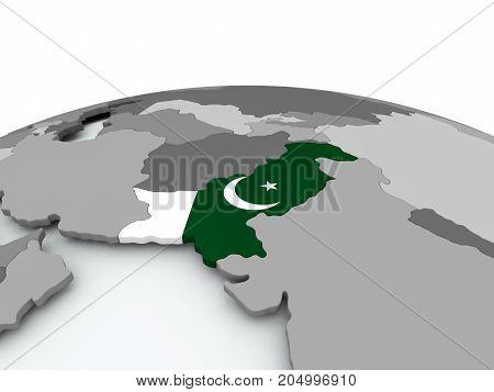 Flag Of Pakistan On Globe