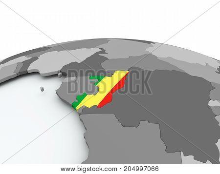 Flag Of Congo On Globe