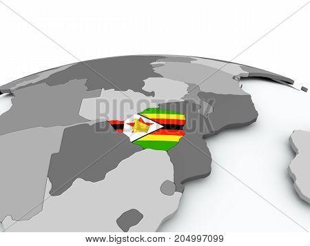 Flag Of Zimbabwe On Globe