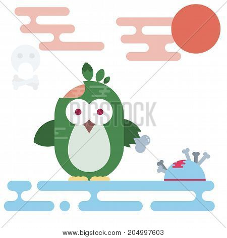 Vector flat penguin character stylized as zombie. Modern flat illustration.