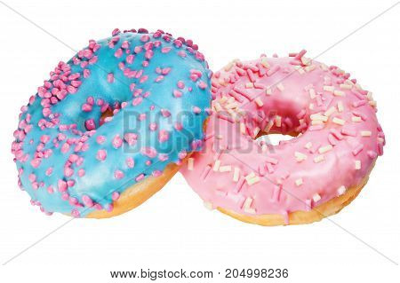 two donut with colorful sprinkles isolated on white background.