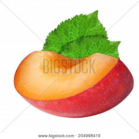 Close up of a slice of fresh red plum on white background in full depth of field with clipping path.