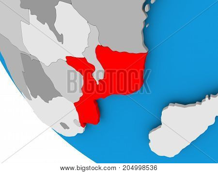 Mozambique On Political Globe