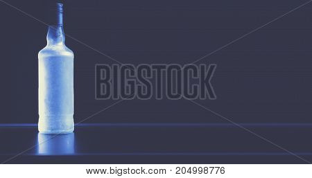 Luxury Frozen Vodka Bottle On A Black Background