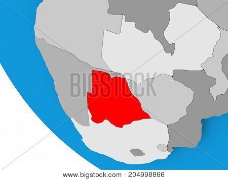 Botswana On Political Globe