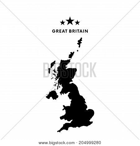 Great Britain map. Stars and text. Vector illustration.