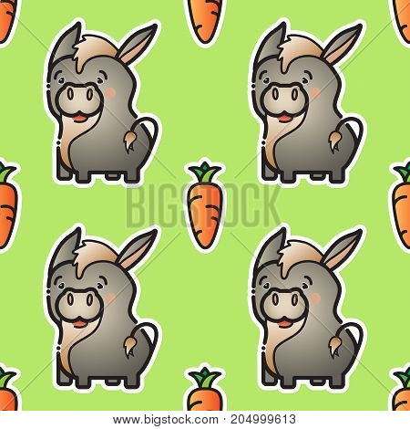 Cute donkey and carrot. Vector colorful animal and vegetable isolated on green background.  Seamless pattern. Farm animals in cartoon style. Funny donkeys.
