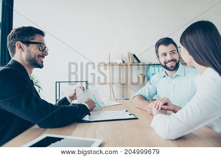 Side Profile View Of Cheerful Married Couple, Having Consultation With A Lawyer About A Credit For B
