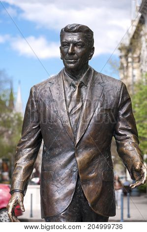 Statue Of The Former U.s. President Ronald Reagan