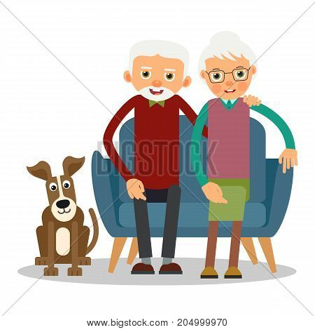 On the sofa sit elderly woman man and dog. Family portrait of elderly with animal. Married couple of pensioners at home on couch with a pet. Illustration in flat style. Isolated