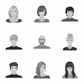 Appearance of the girl in glasses, a guy with a hairdo, a bald man with a beard and other varieties of face. Faces and appearance set collection icons in monochrome style vector symbol stock illustration . poster