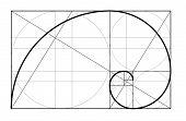 Golden ratio.Template for the construction of a helix. Constructing a composition an ideal proportion of the proportion. Template design. Scalable vector illustration of spiral with golden ratio. poster