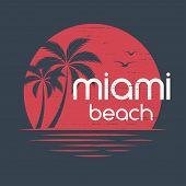 Miami sunset. T-shirt and apparel vector design, print, typography, poster, emblem with palm trees. poster