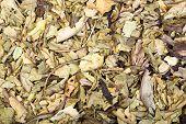 Pile of dry crumbled plantain Plantago lanceolata medicinal herb. poster