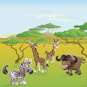 Cute African safari animal cartoon characters scene. Series of three illustrations that can be used separately or side by side to form panoramic landscape. poster