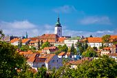 Zagreb historic upper town skyline view capital city of Croatia poster