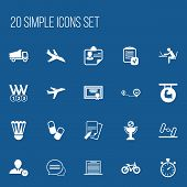 Set Of 20 Editable Complicated Icons. Includes Symbols Such As Aircraft, List, Navigation And More poster