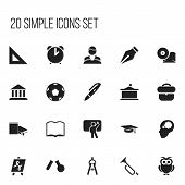 Set Of 20 Editable Science Icons. Includes Symbols Such As Phial, Tabulation, Teacher And More poster