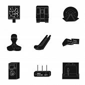 Movement, electric transport and other  icon in black style. Public, transportation, means icons in set collection. poster