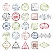 Colored grungy Postal Stamps set in different shapes from 24 city in the world. Collection of Colored Postal Stamps. Isolated vector illustration. poster