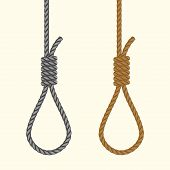 Rope hanging loop. Noose with hangmans knot. Suicide Death penalty by hanging. Vector poster