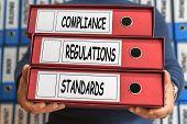 Regulations Compliance Standards concept words. Folder concept. Ring binders. poster