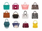 Set of stylish women s handbags - tote, shopper, hobo, bucket, satchel and pouch bags. Trendy leather accessories of different types isolated on white background. Colorful vector illustration poster