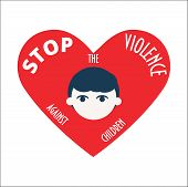 Stop the Violence against children vector illustration. Scared kid and heart shape. Concept illustration against sexual harassment, abuse and violence. poster
