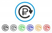 Rouble Recurring Payment rounded icon. Style is a flat rouble recurring payment grey symbol inside light blue circle with black, gray, green, blue, red, orange color versions. poster