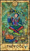 Fool. Joker. Fantasy Creatures Tarot full deck. Major arcana. Hand drawn graphic illustration, engraved colorful painting with occult symbols poster