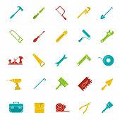 Construction tools glyph color icon set. Silhouette symbols on black backgrounds. Renovation and repair instruments. Spanner, shovel, hammer, paint brush, crowbar. Negative space. Vector illustrations poster