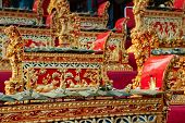 Traditional Balinese orchestra Gamelan - metallophones brass gongs and other musical percussion instruments. Arts music and culture of Bali island and Indonesian people. Asian travel background. poster