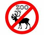 Detailed and colorful illustration of caribou in zoo prohibited poster