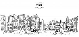 Venice. Cityscape with houses, canal and boats. Vintage vector illustration in sketch style