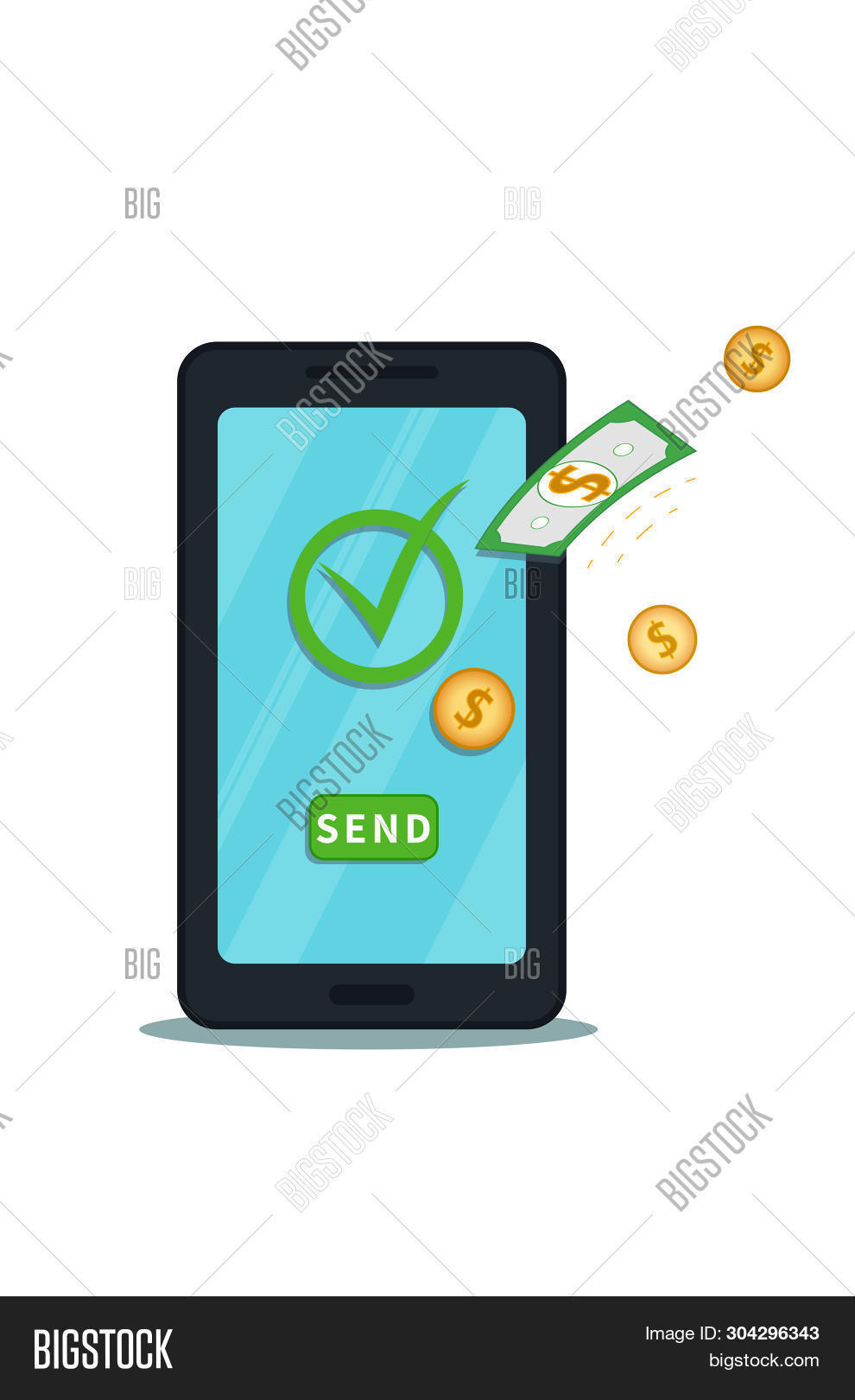 Send Money Online Vector Photo Free
