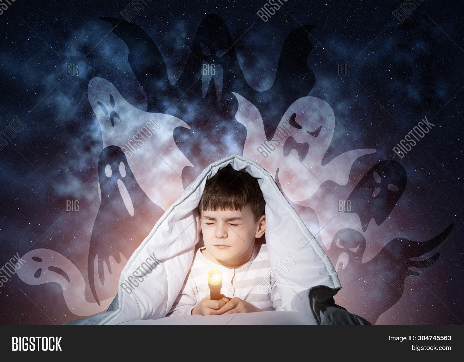 Young Boy Hiding Under Image Photo Free Trial Bigstock
